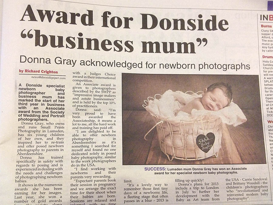 ABERDEEN NEWBORN PHOTOGRAPHER ABERDEENSHIRE DONNA GRAY ASSOCIATE AWARD SWPPNEWS ARTICLE